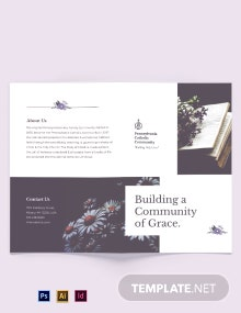 Catholic Floral Bi-Fold Brochure Template