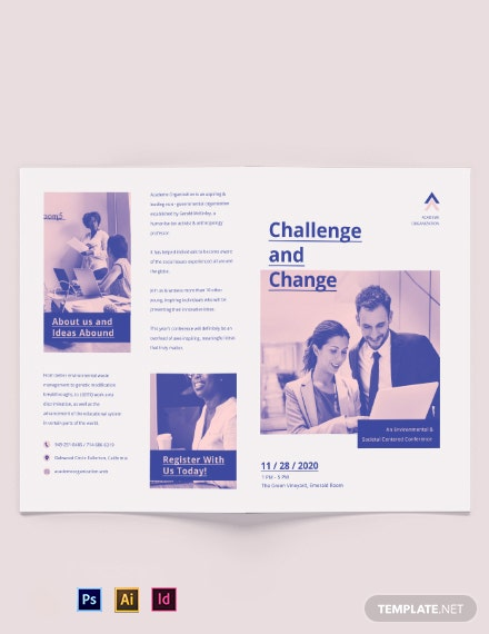 Charity Corporate Event Bi-Fold Brochure Template