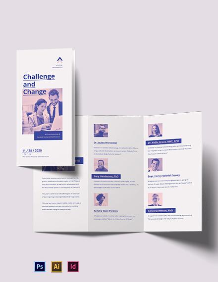 Charity Corporate Event Tri-Fold Brochure Template
