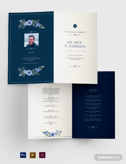 Christian Funeral Memorial Bi-Fold Brochure Template