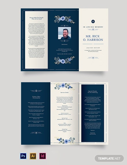 Christian Funeral Memorial Tri-Fold Brochure Template