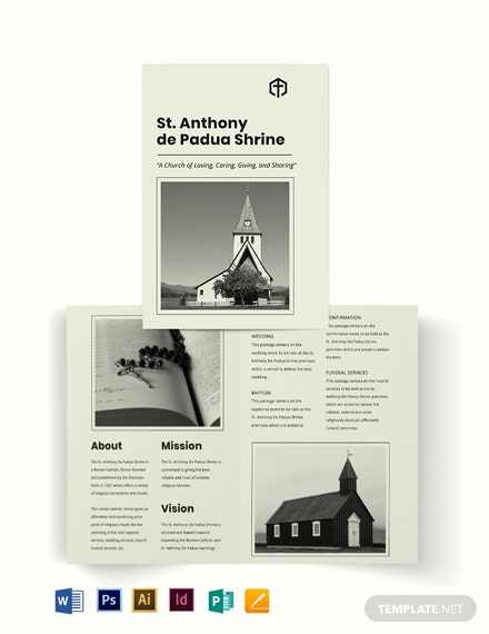Simple Church Bi-Fold Brochure Template