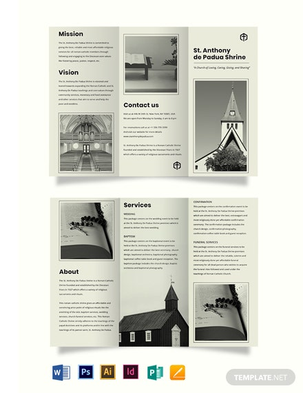 Simple Church Tri-Fold Brochure Template