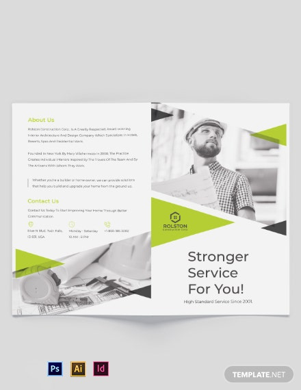 civil construction company bi fold brochure template 440