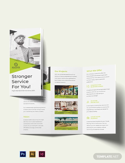 Civil Construction Company Tri-Fold Brochure Template