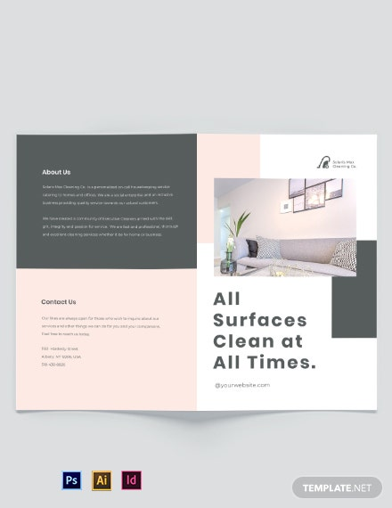 Cleaning Business Bi-Fold Brochure Template