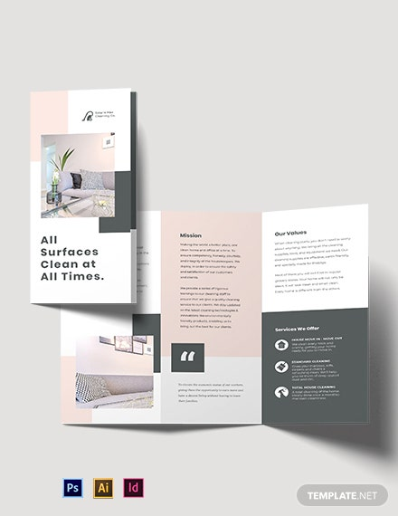 Cleaning Business Tri-Fold Brochure Template