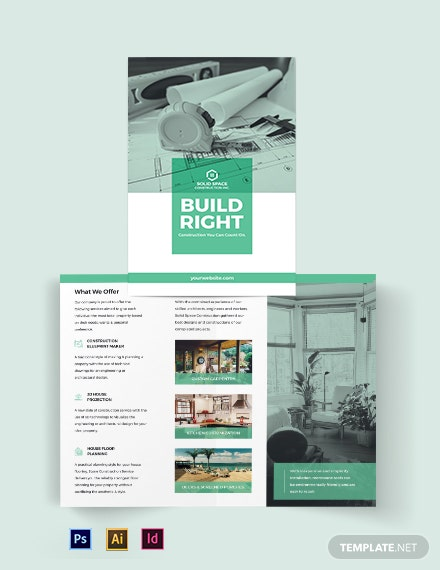 home construction company bi fold brochure template 440