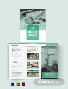 Home Construction Company Bi-Fold Brochure Template