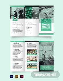 Home Construction Company Tri-Fold Brochure Template
