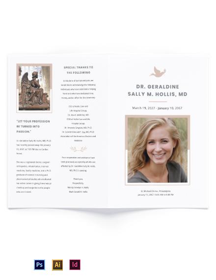 Mother /MOM Funeral Memorial Bi-fold Brochure Template