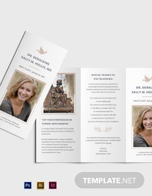 Mother /MOM Funeral Memorial Tri-fold Brochure Template