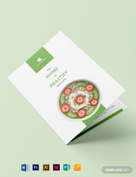Organic Food Bi-Fold Brochure Template