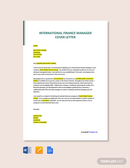 Free International Finance Manager Cover Letter Template