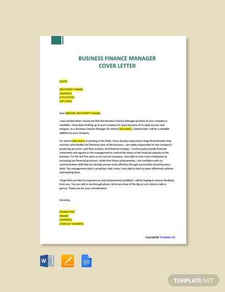 Free Business Finance Manager Cover Letter Template
