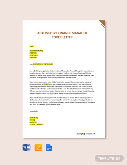 Free Automotive Finance Manager Cover Letter Template
