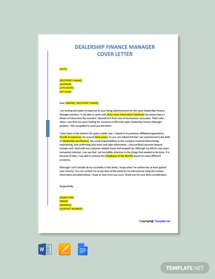 Free Dealership Finance Manager Cover Letter Template