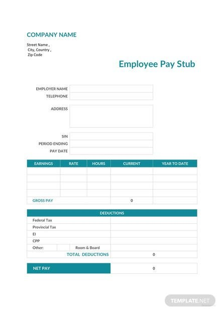 Sample Employee Pay Stub Template