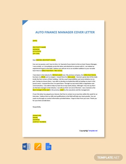 Free Auto Finance Manager Cover Letter Template