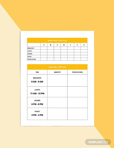 Monthly Diet Planner Template Editable