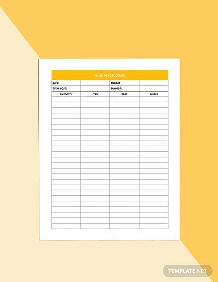 Monthly Diet Planner Template Example