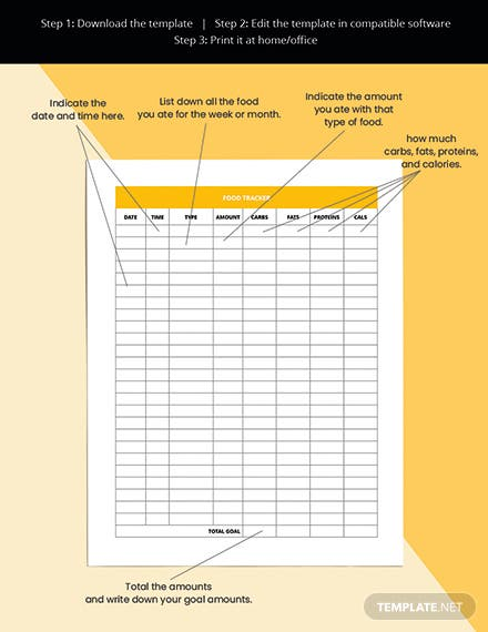 Monthly Diet Planner Template Sample