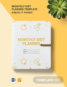 Monthly Diet Planner Template