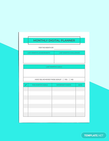 Monthly Digital Planner Sample