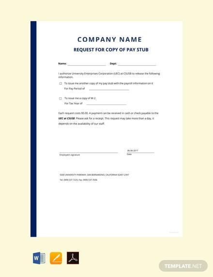 Free Request for Copy of Pay Stub Template