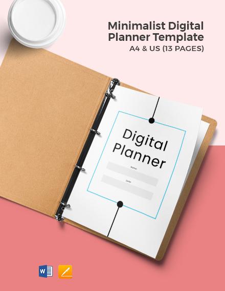 Free Minimalist Digital Planner Template