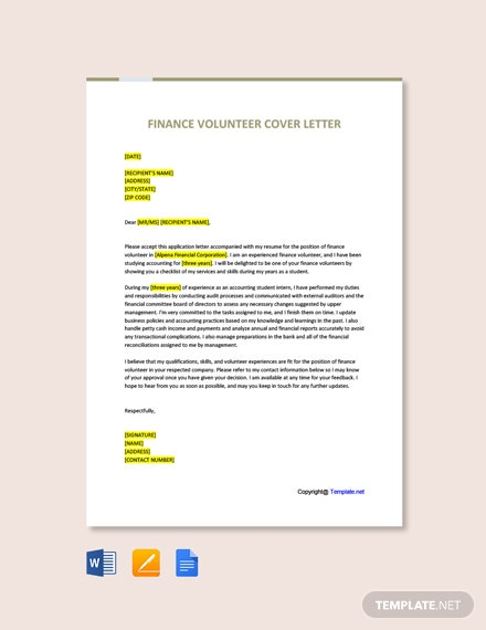 Free Finance Volunteer Cover Letter Template