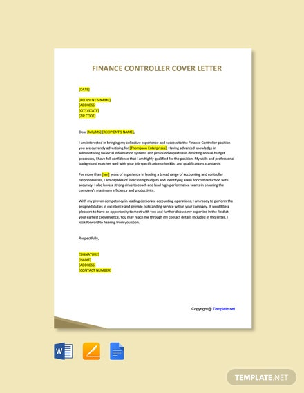 Free Finance Controller Cover Letter Template