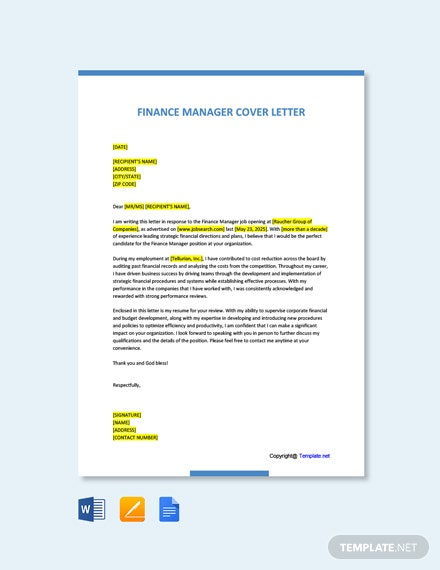 Free Finance Manager Cover Letter Template