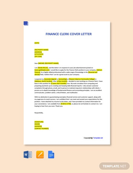 Free Finance Clerk Cover Letter Template