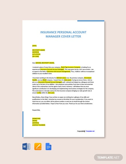 Free Insurance Personal Account Manager Cover Letter Template