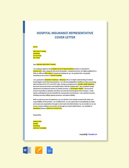 Free Hospital Insurance Representative Cover Letter Template