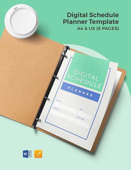Digital Schedule Planner Template