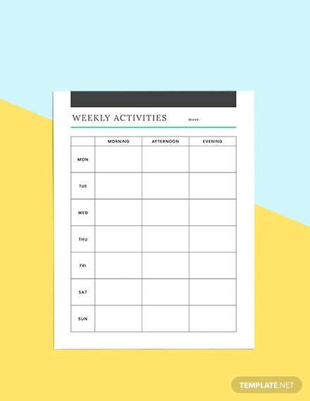 Simple Schedule planner Example
