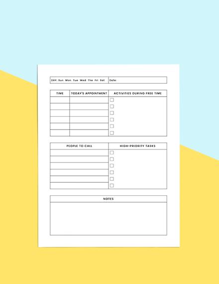 Simple Schedule planner Sample