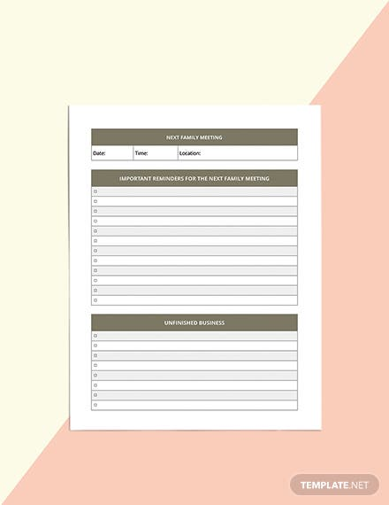 Family meeting Planner Template Example