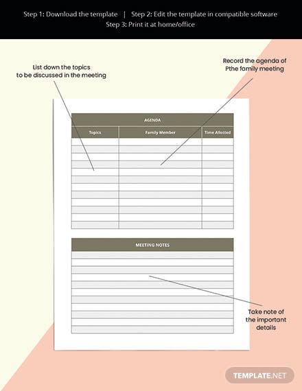 Family meeting Planner Template Printable