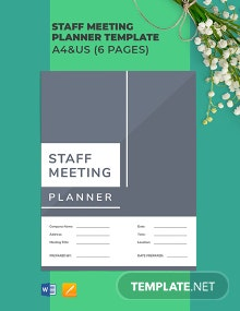 Staff Meeting Planner Template