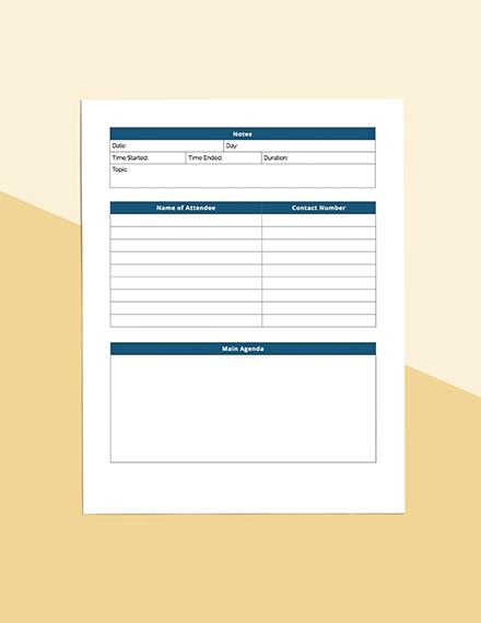 Business Meeting Planner Sample