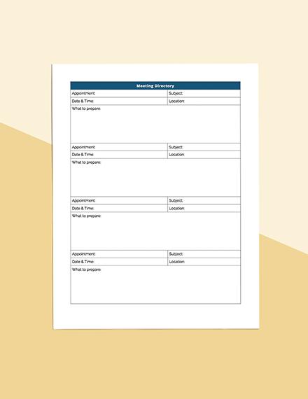 Business Meeting Planner Printable