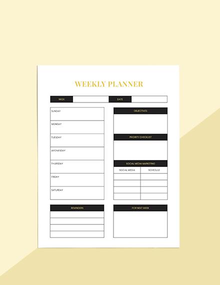 Hotel marketing Planner Printable
