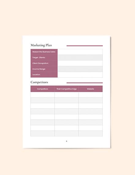 Hotel Business planner Format
