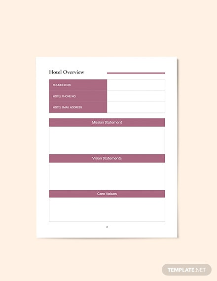 Hotel Business planner overview