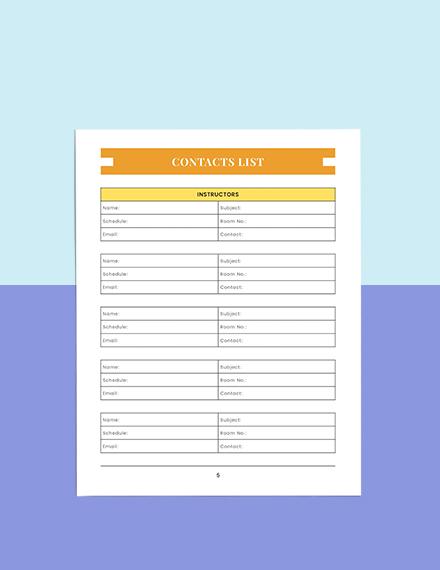 Homework Education Planner Example