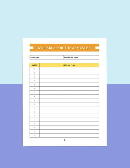 Homework Education Planner Sample