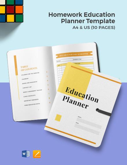 Homework Education Planner template